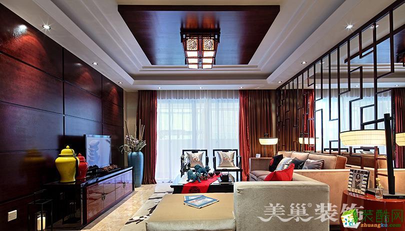 嘉韵公园里155平三室两厅新中式装修样板间设计