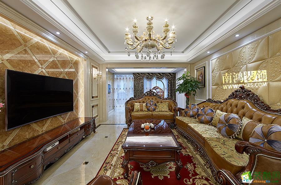 |南鸿装饰|龙湖滟澜山240方古典美式_美式风格-四室两厅两卫