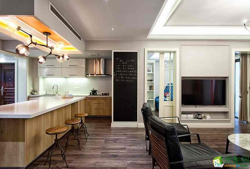 长沙美之翼装饰-美式三居室装修效果图