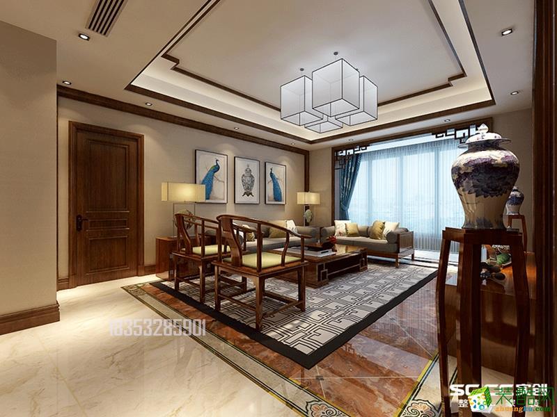金地悦峰145平三居室装修,中式风格