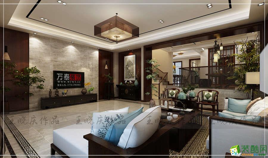 潍坊卡诺岛别墅420�O平装修新中式风格设计案例