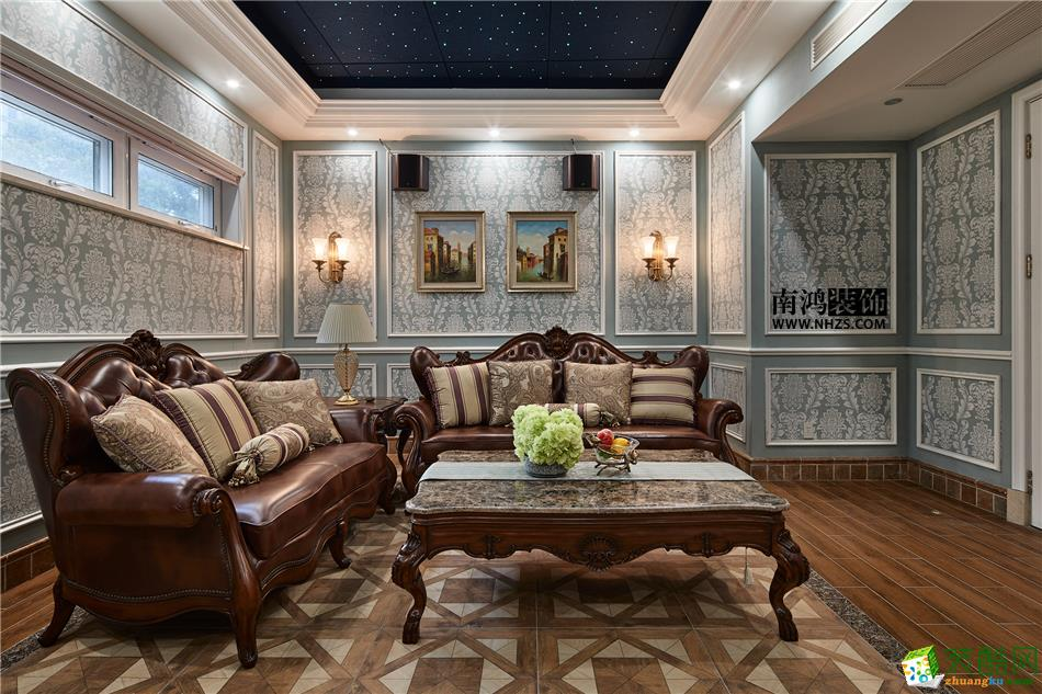 客厅 498平美式别墅精装效果图-客厅 白云深处