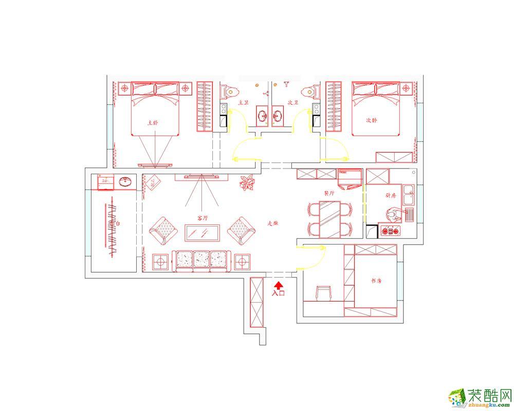 紫林湾126平米-优美顺滑三居婚房外观 紫林湾126平米-优美顺滑三居婚房-石家庄实创装饰