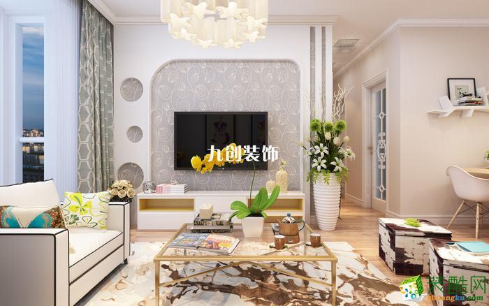 【九创装饰】丁香园85平米二居室现代简约装修效果图