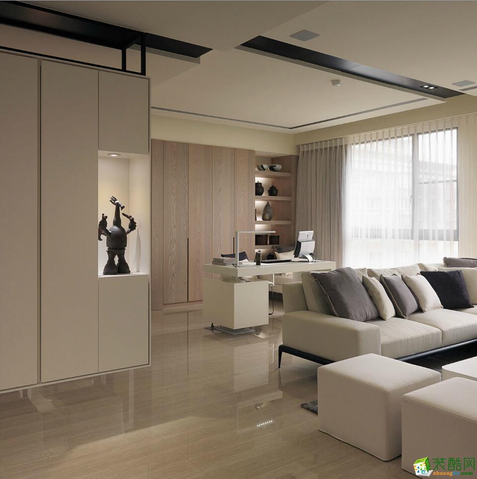 85平简美风格两居室装修效果图-10万全包-客厅6