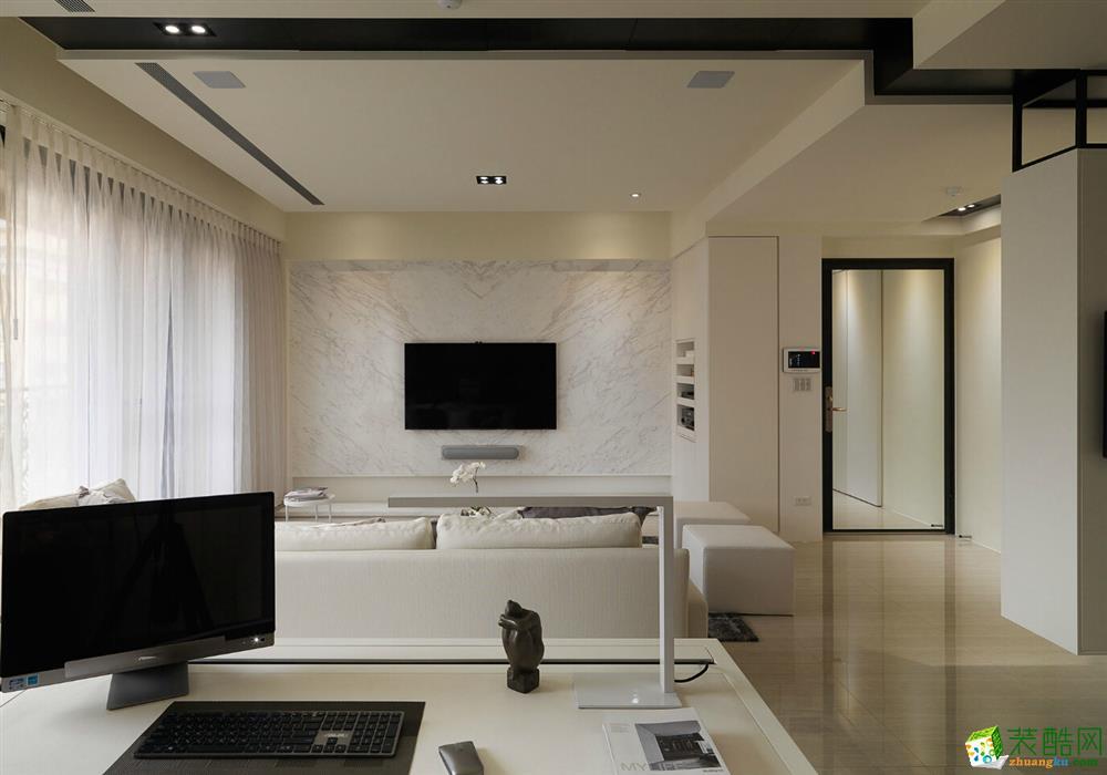 85平简美风格两居室装修效果图-10万全包-客厅4