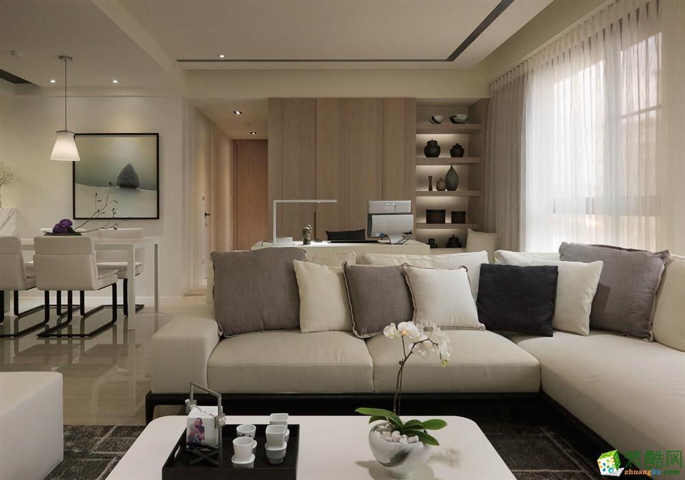 85平简美风格两居室装修效果图-10万全包-客厅3