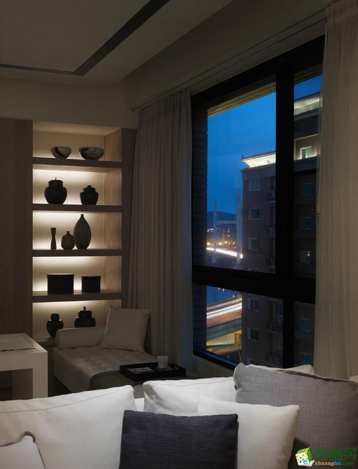 85平简美风格两居室装修效果图-10万全包-客厅1