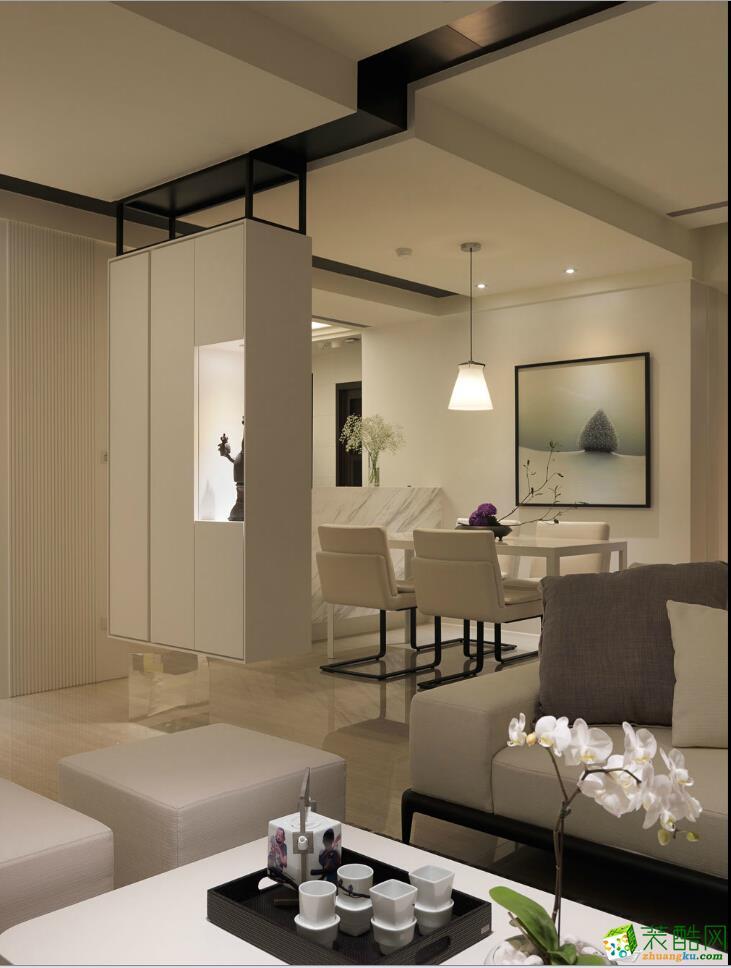 85平简美风格两居室装修效果图-10万全包-客厅