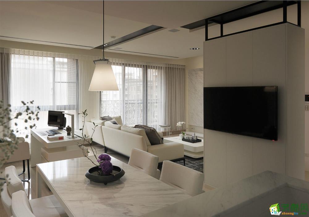 85平简美风格两居室装修效果图-10万全包-餐厅
