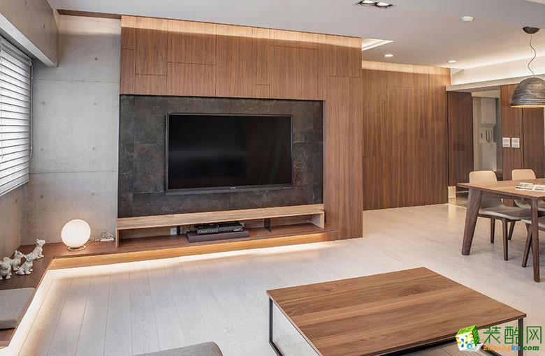 美颂雅庭装饰―113�O原木现代两居室-客厅1