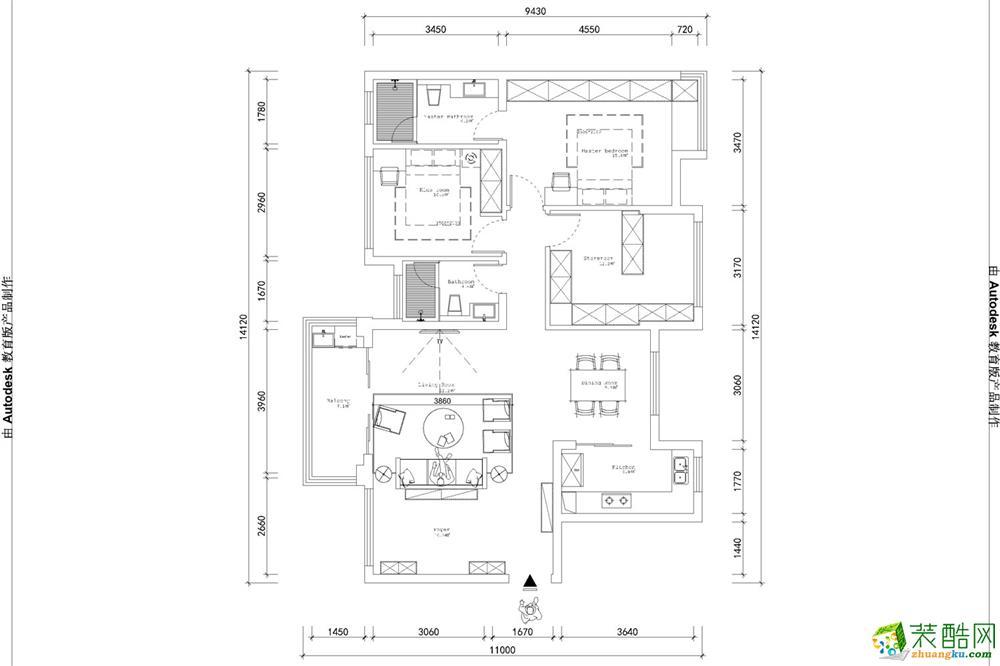 雍景湾-114�O-欧式风格装修案例