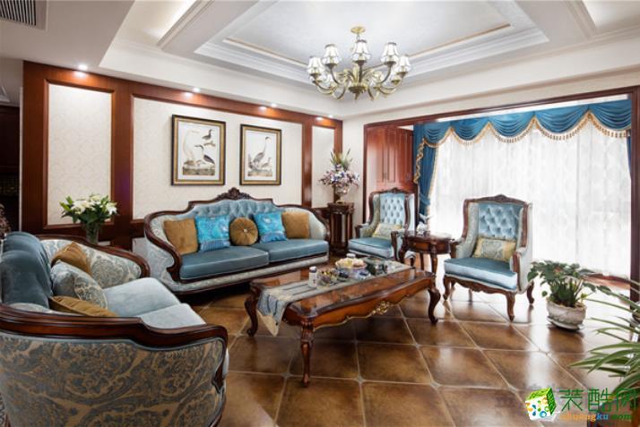 常德金煌装饰-115平美式典雅装修效果图-四居室全包