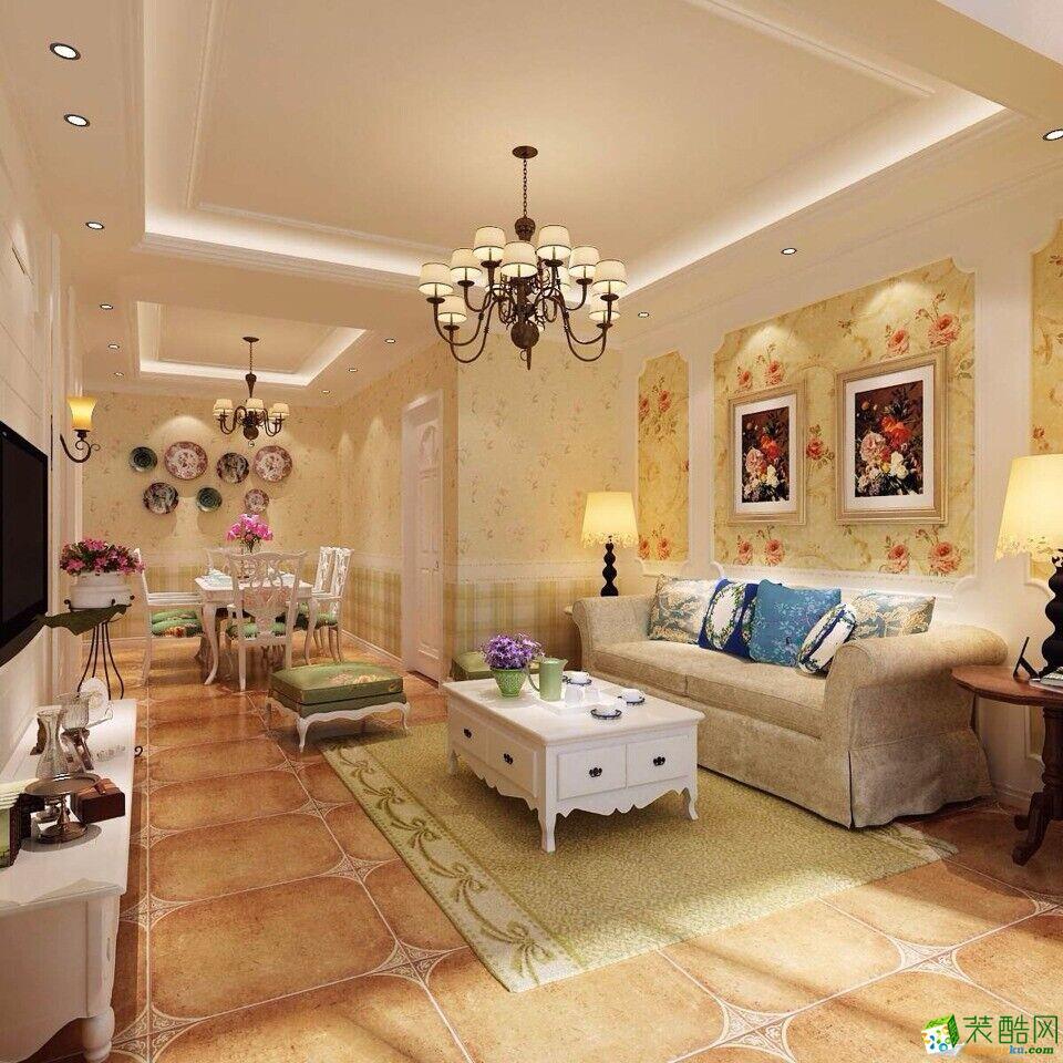 郑州一号家居网正商城73平两居室田园风格装修案例效果图