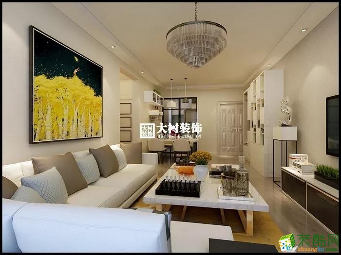 客厅 大树装饰 保利城 现代风格 案例