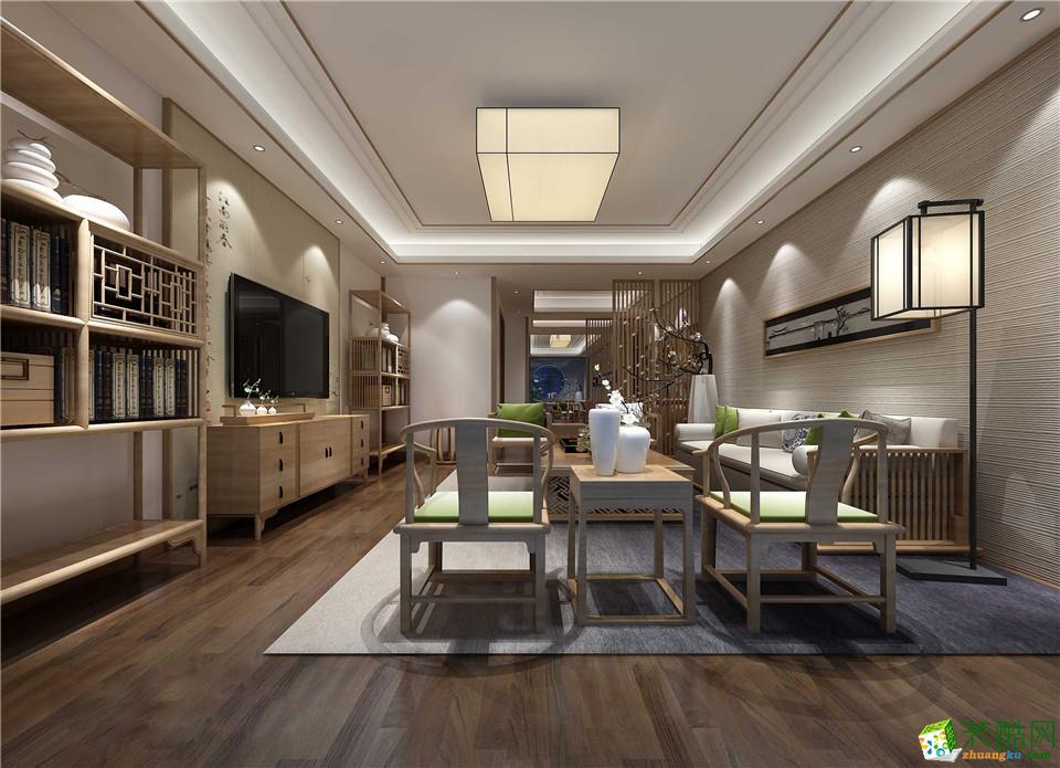 郑州一号家居网海龙香槟120平三居室新中式风格装修案例效果图