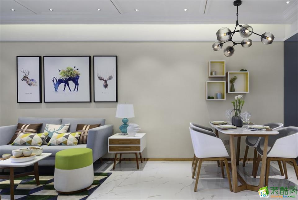 郑州一号家居网百合花园80平两居室现代北欧风格装修案例效果图