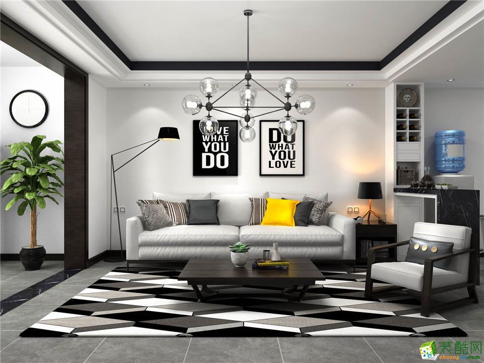 郑州一号家居网华启金悦府89平两居室现代简约风格效果图