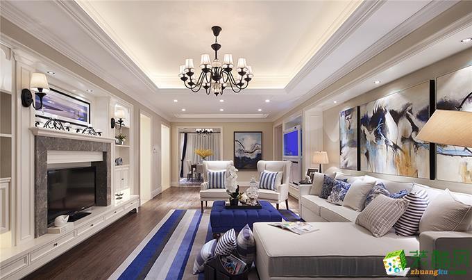【十二分装饰】紫御江山 美式四居室实景案例图