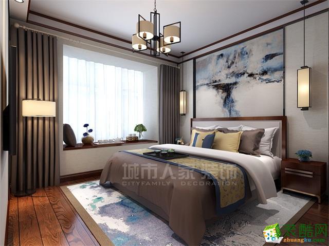 西安城市人家装饰-中铁缤纷新城新中式风格三居室装修效果图