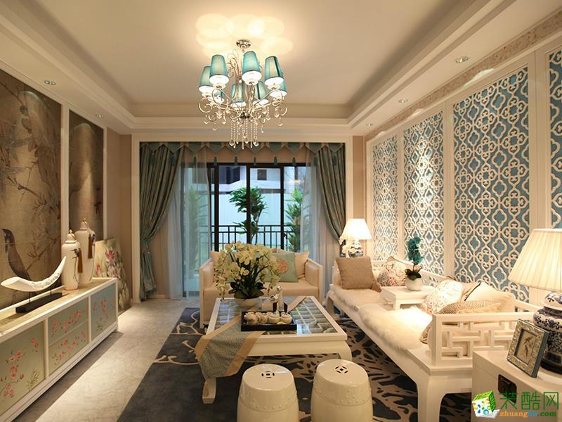 无锡大自然装饰-新中式三居室装修效果图