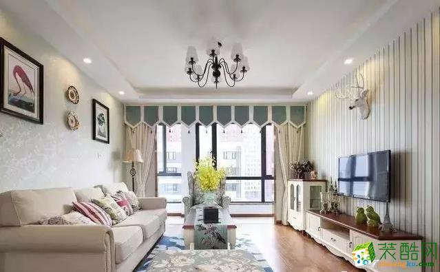 西安龙湖香醍120平米简美风格三室两厅一卫装修效果图