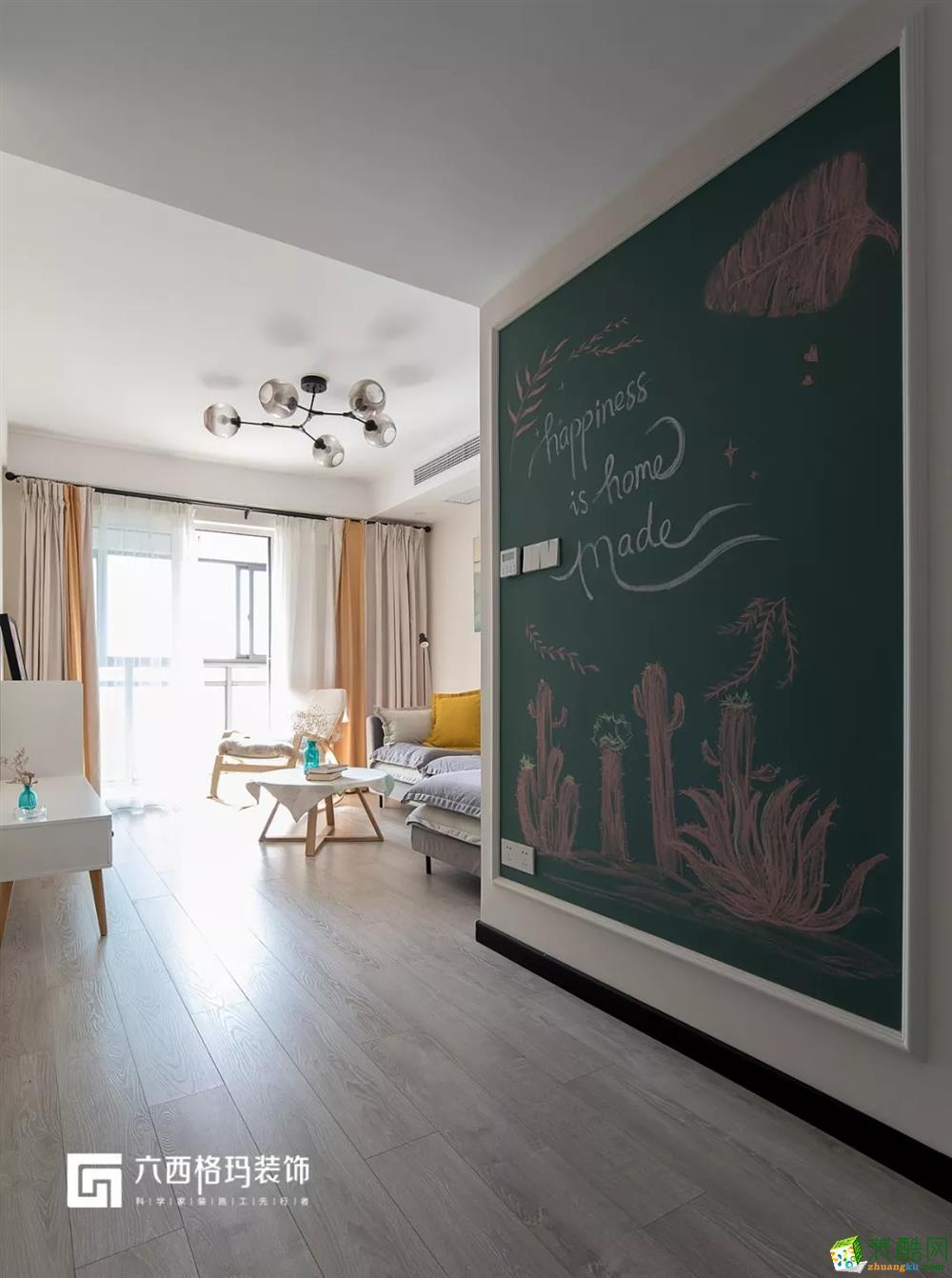 三金华都94㎡北欧风格两居室装修效果图(过道吊顶)图片
