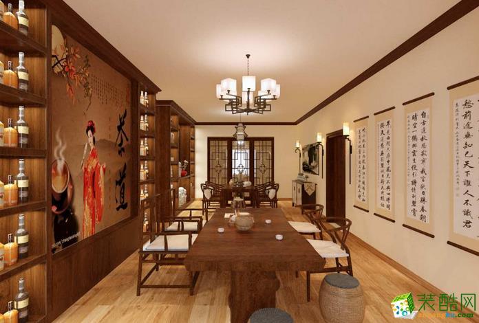 双艺装饰-124�O中式四居室装修效果图