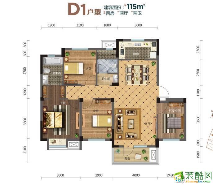 亿达云山湖 115平 时尚欧式四室两厅装修效果图
