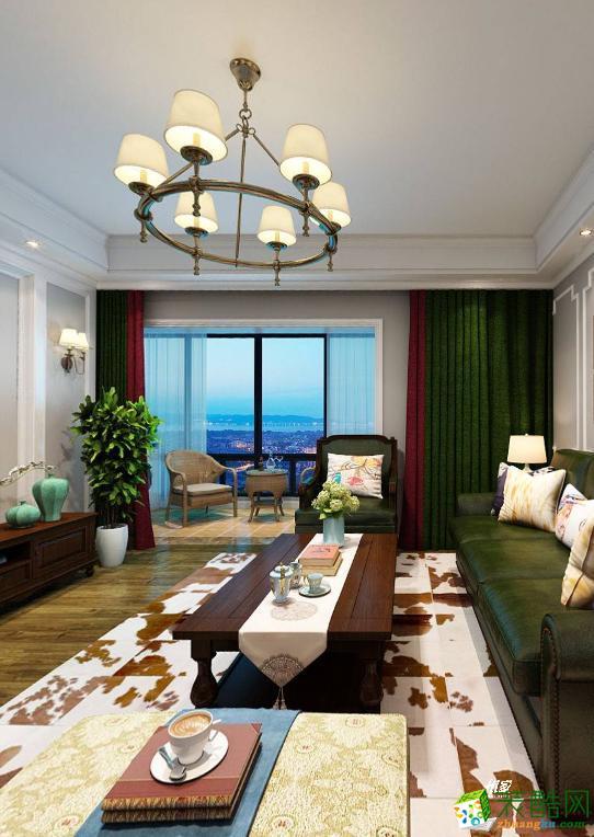 【嘉禾装饰 武汉】新长江香榭湾106平三室两厅简美风格效果图