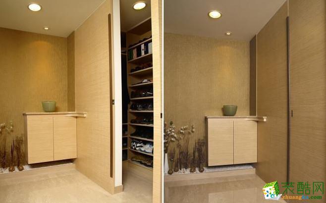 玄关将鞋柜与端景利用推拉门扉与空间作界定,维持线面之间的俐落关系,端景以间接光源及悬挂方式安排,延续光影的层次及立面的延续感。