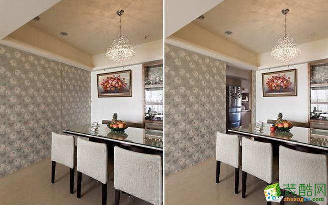 厨房 进入厨房的门片延伸玄关墙面壁纸,设计师去化门片的存在感,型塑完整的空间线条。 133平现代风格装修效果图-永丰装饰