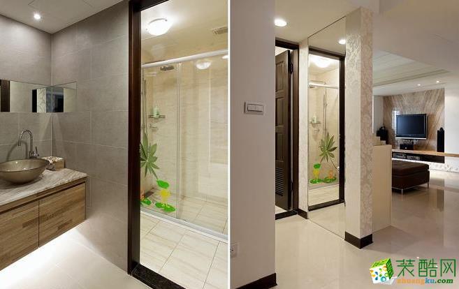 卫浴 设计师延长客厅沙发背墙的墙面,并将卫浴的洗手台重新更换位置及建材,设计师聪明使用第三道墙面解决开门见厕的的风水问题。 133平现代风格装修效果图-永丰装饰