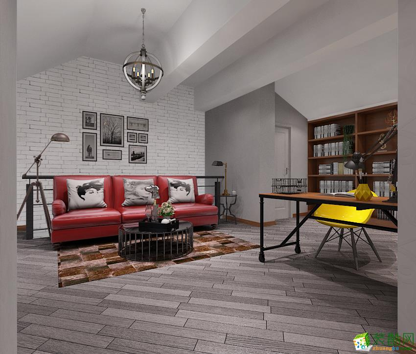 【六西格玛】常青花园76�O跃层住宅北欧风格装修效果图