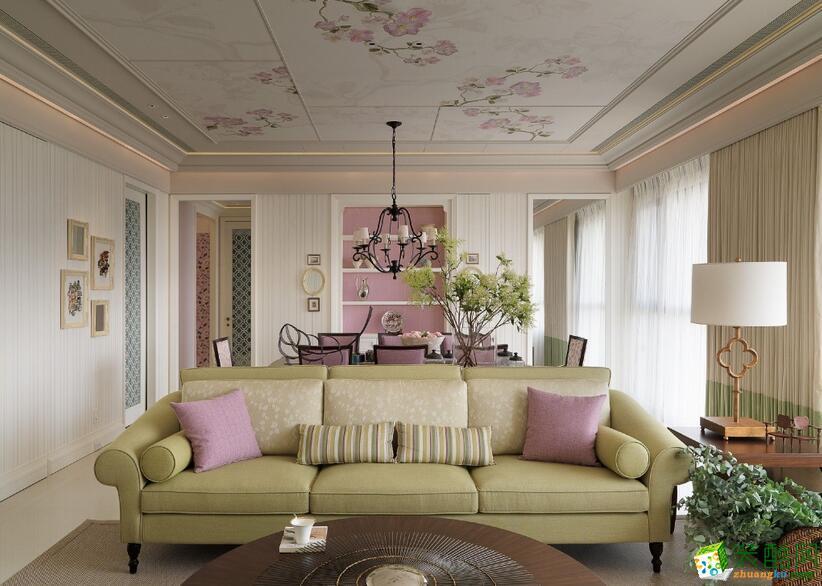 【拜斯达装饰】爱家798  84�O粉色简欧来两室两厅装修效果图