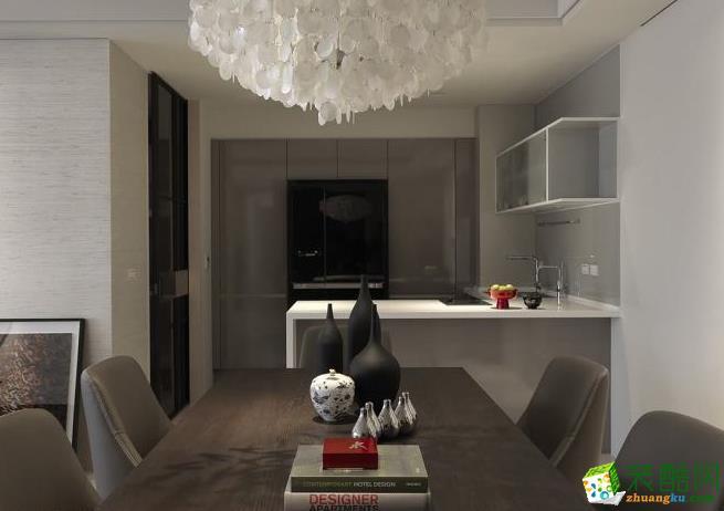 餐厅 轻食餐厅与厨房之间,设计师以中岛吧��增加其功能使用性,而通往料理的厨房则以隐藏式拉门作为界隔。 159平四居室现代风格装修效果图-予我装饰