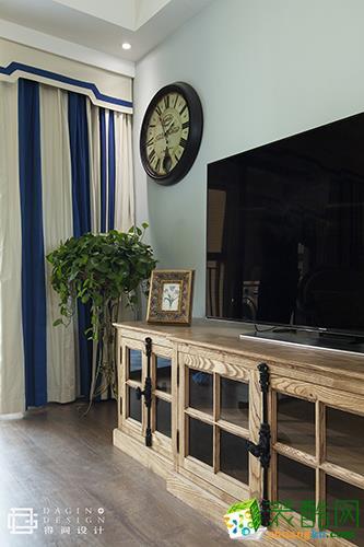 【得间设计】万锦江城128�O美式风格三室两厅装修效果图