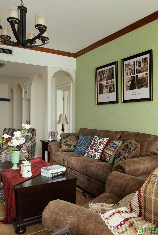 【金饰家装饰】110平米美式乡村风格三居室装修案例图赏析。