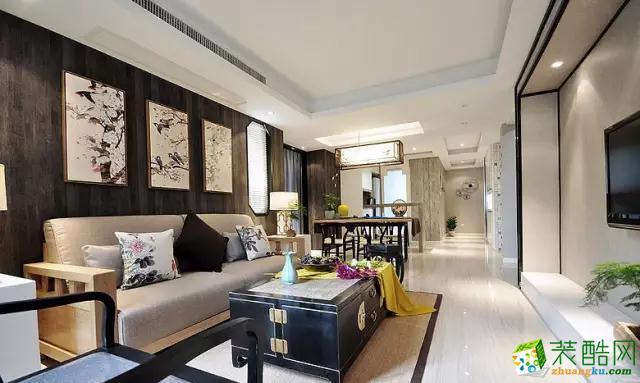 沙发背景用深灰色的地板上墙制作