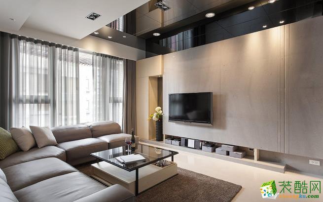 100平三居室现代风格装修效果图-予我装饰