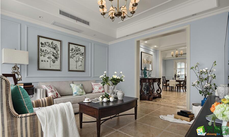 【思家装饰】野风启城110方美式风格三室一厅装修效果图