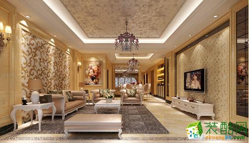金色的欧式风格在颜色上更显得富丽堂皇一些,浅色的地面和咖啡色的沙发也比较清理温柔,整体效果很好。