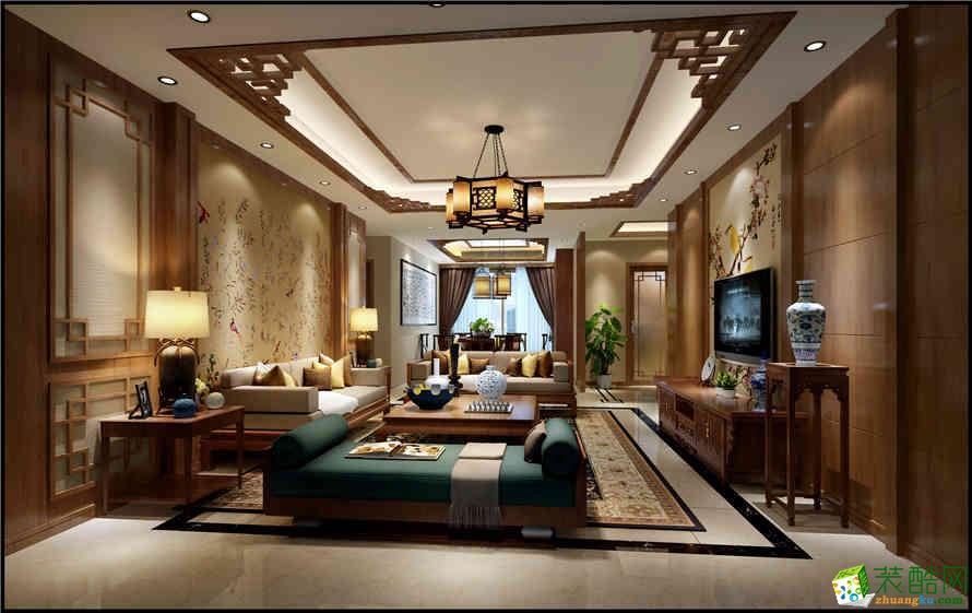 【红玛瑙装饰】斌鑫江南时代83�O新中式三居室装修案例图