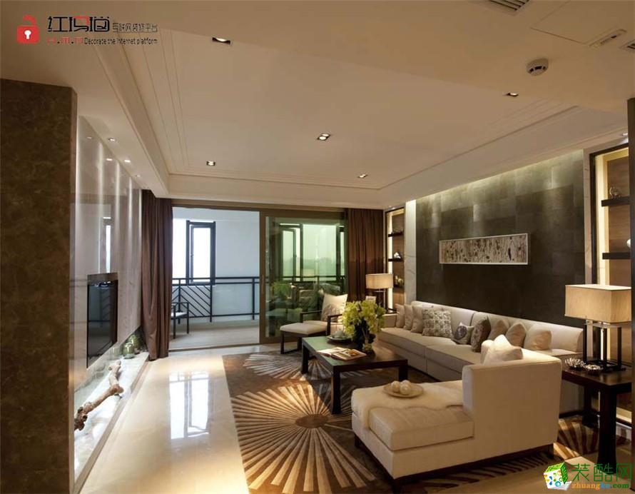 【红玛瑙装饰】中铁山水时光107�O新中式三居室装修案例图