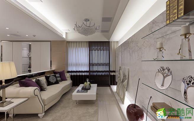 客厅 以简洁线条构成的空间,不刻意对风格设限,任由居住者经由布置来主导情境,展现韩剧场景的细�@表情。 203平四居室现代风格装修效果图-太筑装饰