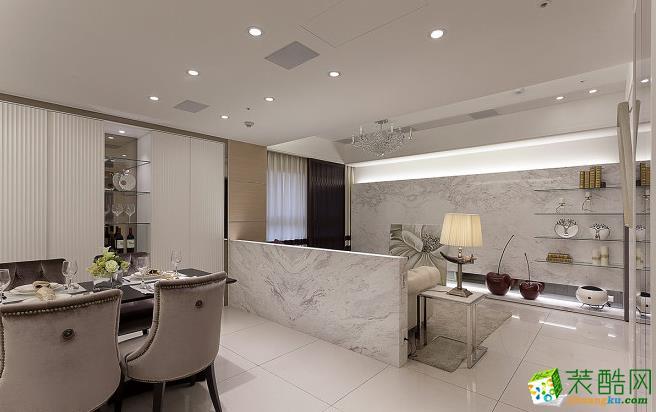 餐厅 上下��面对花拼接的石材,彻底展现石材纹理的美感。 203平四居室现代风格装修效果图-太筑装饰
