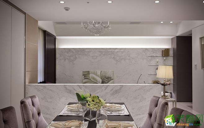餐厅 半高沙发背墙定义出客、餐厅之别,也让视觉能完全延伸。 203平四居室现代风格装修效果图-太筑装饰