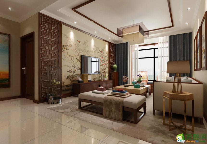 两室两厅90平装修图_90平米新中式两居室装修效果图_装酷网装修效果图