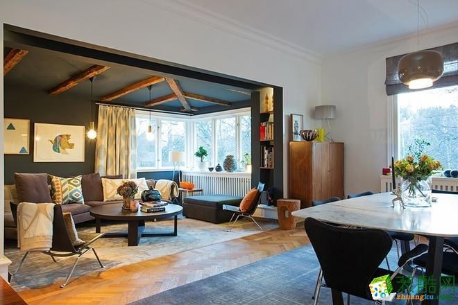 【天世居装饰】天越雅园混搭风格54�O现代公寓两居室装修案例
