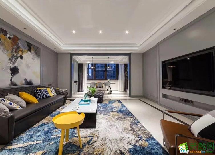 【冠鵬裝飾】100平米美式三居室裝修案例圖